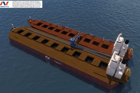 New self-unloading bulk carrier developed to overcome draught limited ports