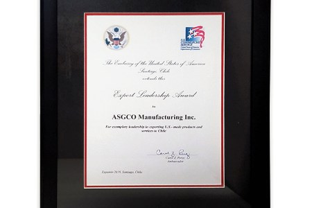US Ambassador to Chile hands ASGCO Export Leadership Award